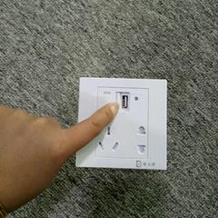 智立得墙壁开关一位USB手机数据线快充五孔插座防火自带安全门