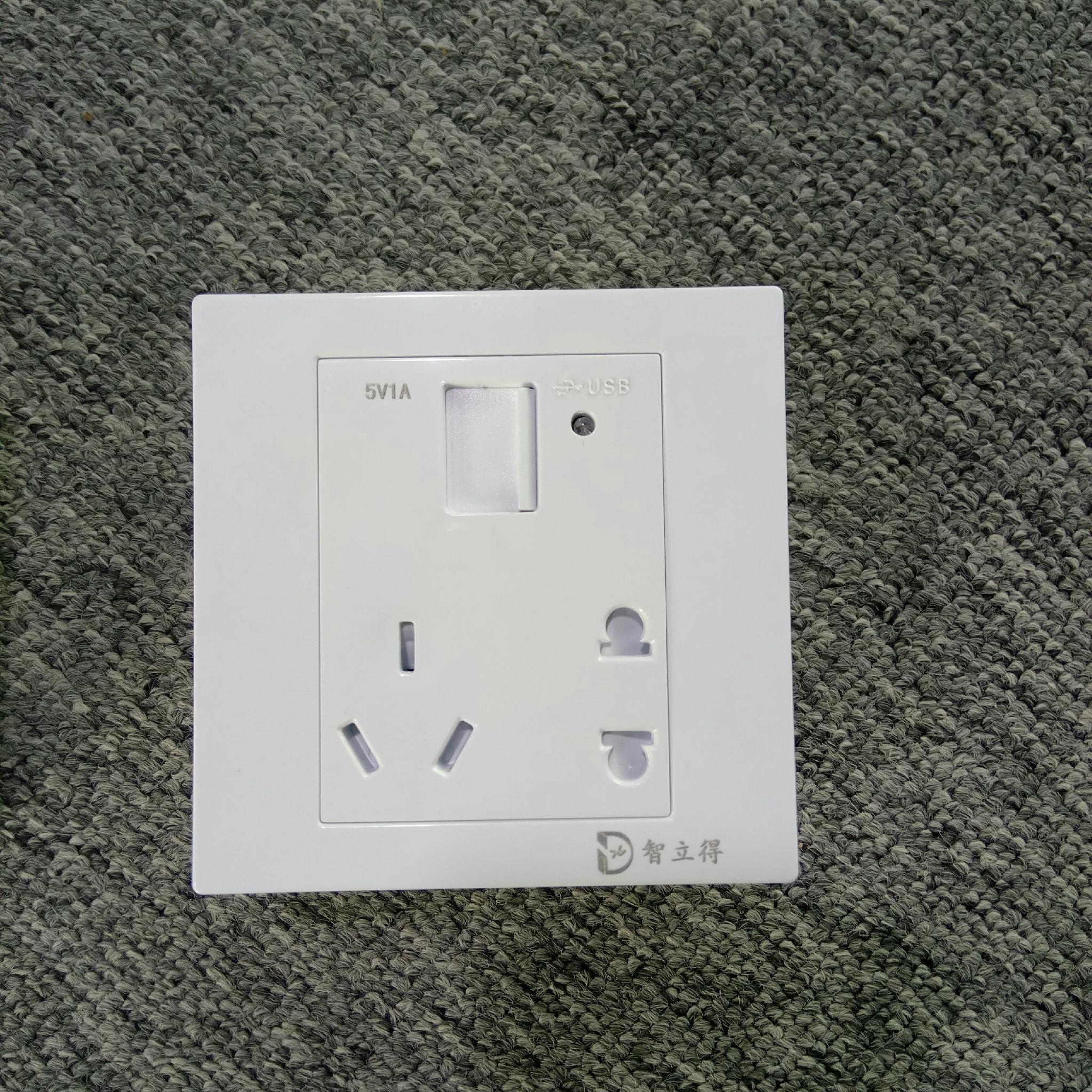 智立得墙壁开关一位USB手机数据线快充五孔插座防火自带安全门 3
