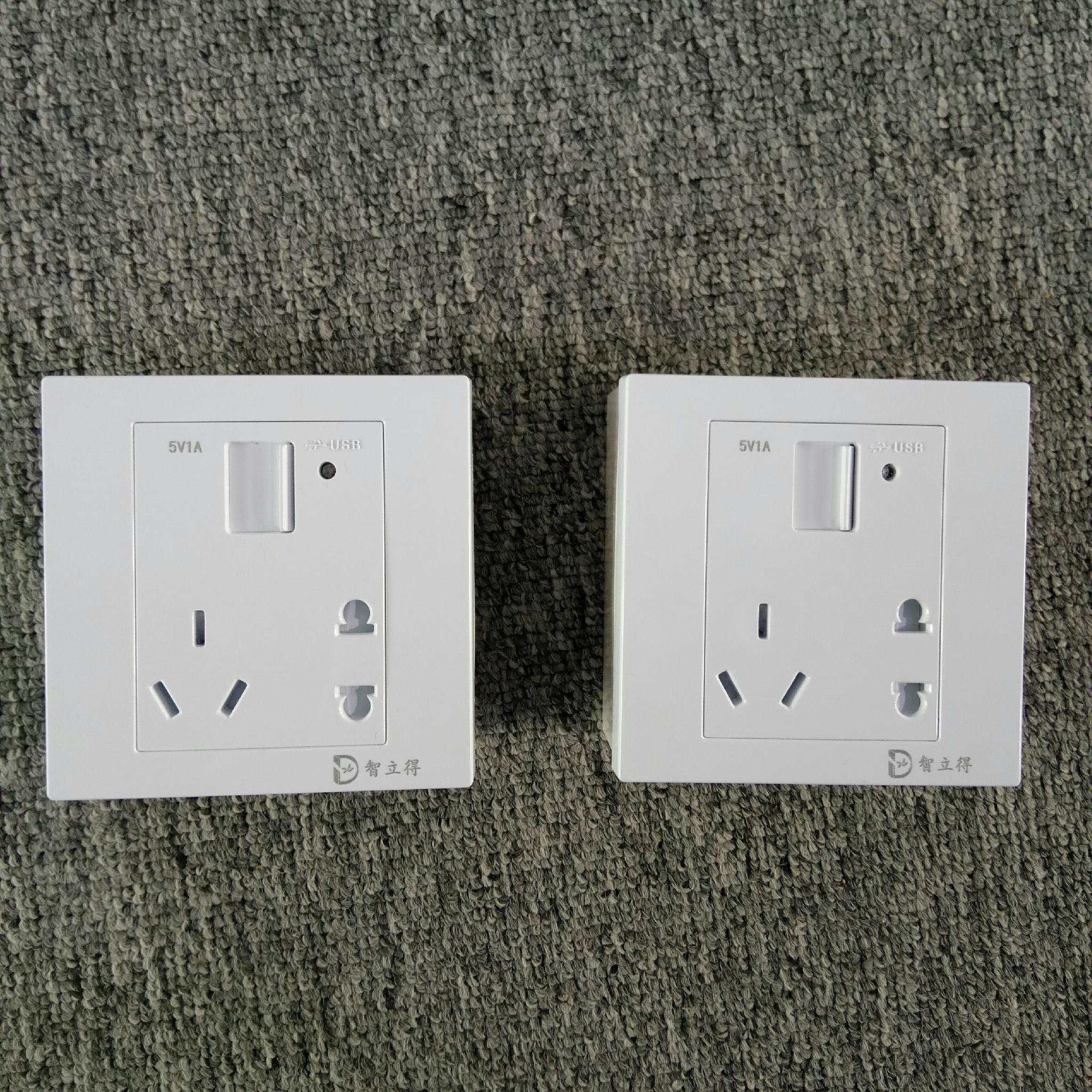智立得墙壁开关一位USB手机数据线快充五孔插座防火自带安全门 4
