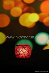 Mosaic glass LED candle-Red
