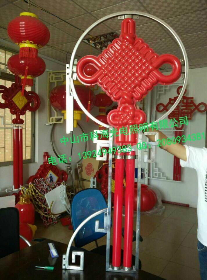 道路燈杆安裝LED發光中國結燈 1