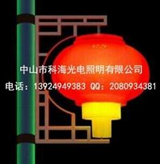 路灯杆安装LED三连串灯笼