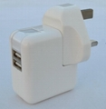 Dual USB charger with UK plug
