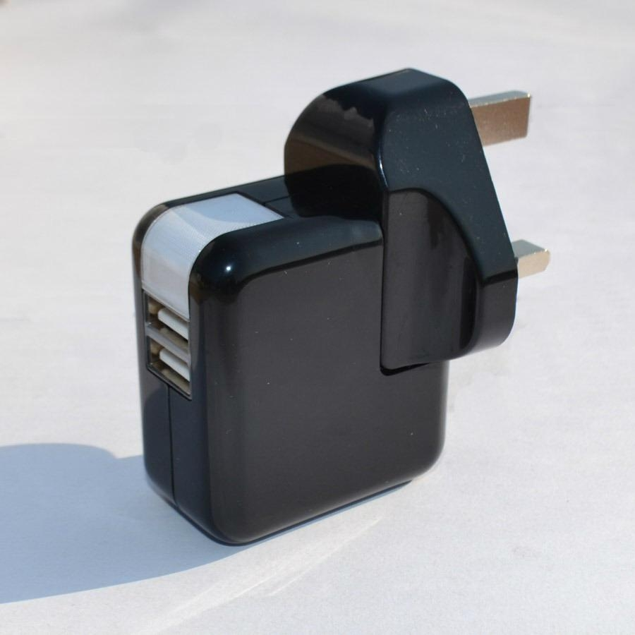 Dual USB charger with UK plug in black 1
