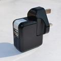 雙USB充電器帶英式插頭(黑色