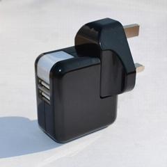 双USB充电器带英式插头(黑色)