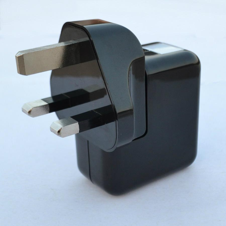 Dual USB charger with UK plug in black 2