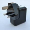 双USB充电器带英式插头(黑色) 2