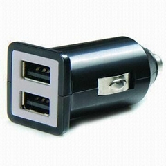 Dual USB car charger (in black)
