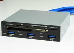 USB3.0 三口集线器+读卡器 GU3030B