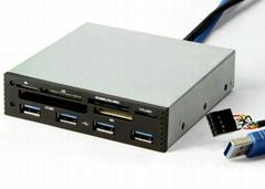 USB3.0內置Hub+USB2.0六卡讀卡器 GC006A-3.0