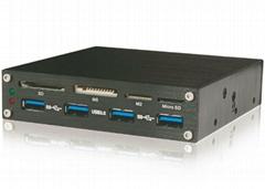 USB3.0 PCI-E 转USB3.0内置Hub+USB2.0 多功能读卡器  GP3056B