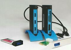 USB3.0 PCI-E 转 USB3.0 Hub (可用笔记本和台式机)  GP3022A