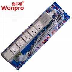 稳不落5位国际三极插座10A热过载保护带线延长PDU机柜排插