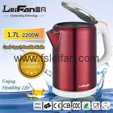 2017 Top quality stainless steel electric cordless kettle promotion  2