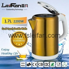 2017 Top quality stainless steel electric cordless kettle promotion
