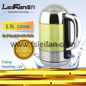 cool touch double wall water kettle with LED light 1