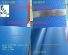 500D18*17蓝色pvc夹网布 箱包手袋布