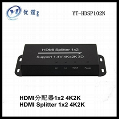 1.4V HDMI Splitter 1x2 support 4kx2k 3d,1 into 2 output