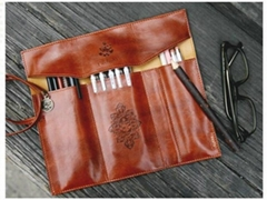 Retro pen bag twilight leather pencilcase cosmetic bag