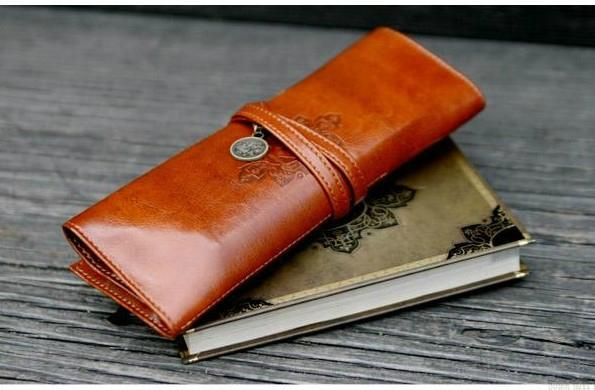 Retro pen bag twilight leather pencilcase cosmetic bag 2