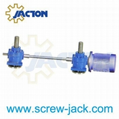 two jack systems joined via a speed reducer or miter box supplier