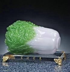 風水招財工藝品樹脂仿玉白菜