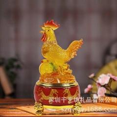 树脂工艺琉璃鸡摆件