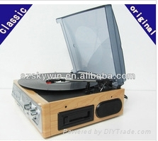 Deluxe Classic Retro wooden stereo audio record player