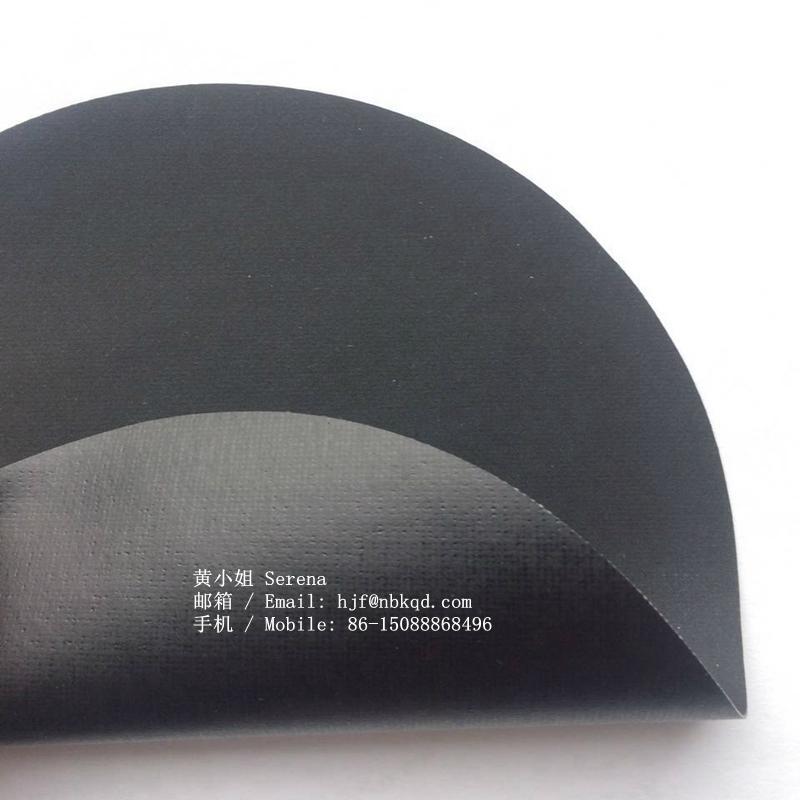 0.45mm可热压可高频焊接黑色丁晴橡胶夹丝布 1