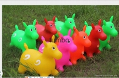 Wholesale PVC plastic inflatable music jumping horse kids jumping animal toy OEM