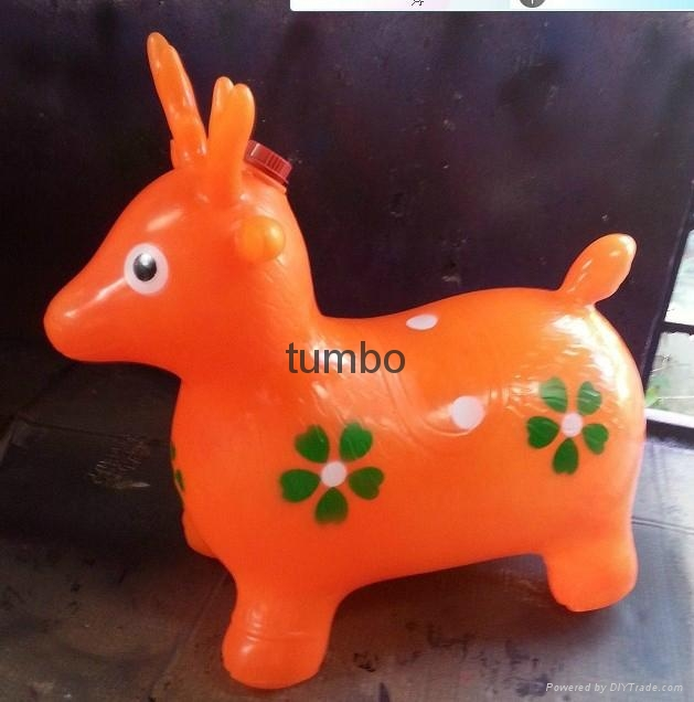 Wholesale PVC plastic inflatable music jumping horse kids jumping animal toy OEM 3