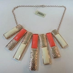 wholesale gold plated alloy jewelry with big orange stones alloy necklace