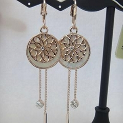 Gold Plated Round Flower Pendant Hook Earring Jewellery with Crystal Jewelry in