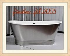 源自意大利設計的鑄鐵浴缸帶不鏽鋼外套 工程浴缸