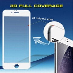Newest 3D 9H 0.33mm silicone edge 100% cover delicate touch anti shock tempered