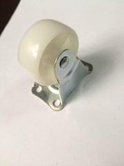 1.5寸白PP环保材料固定脚轮 小花盆罢设品定向轮