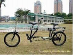 双人折叠自行车