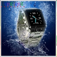Quad-bands stainless waterproof Wrist watch phone W818 with camera