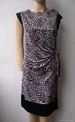 夏季新款真丝针织二色搭配修身短袖连衣裙
