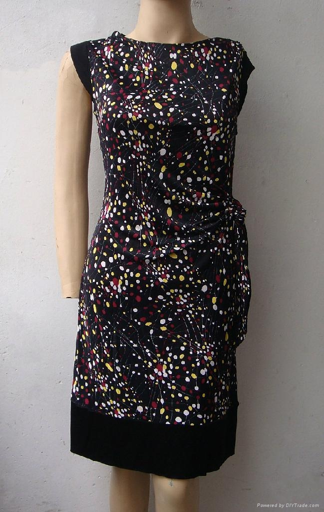夏季新款真絲針織二色搭配修身短袖連衣裙 4