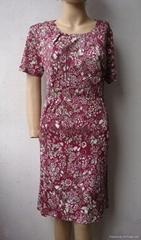 夏季新款薄型真絲印花圓領短袖連衣裙