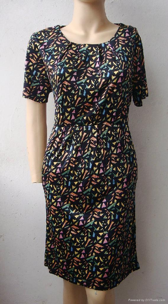 夏季新款薄型真絲印花圓領短袖連衣裙 2