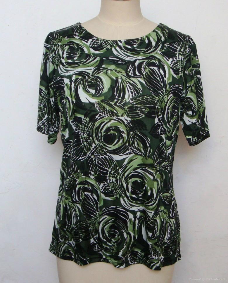 玫瑰花圓領短袖老太真絲針織衫 1