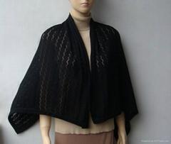 黑色婁空花披肩圍巾