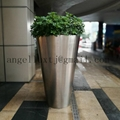 Large Tall Stainless Steel Flowerpot Planter Vase For Mall Hotel Decoration