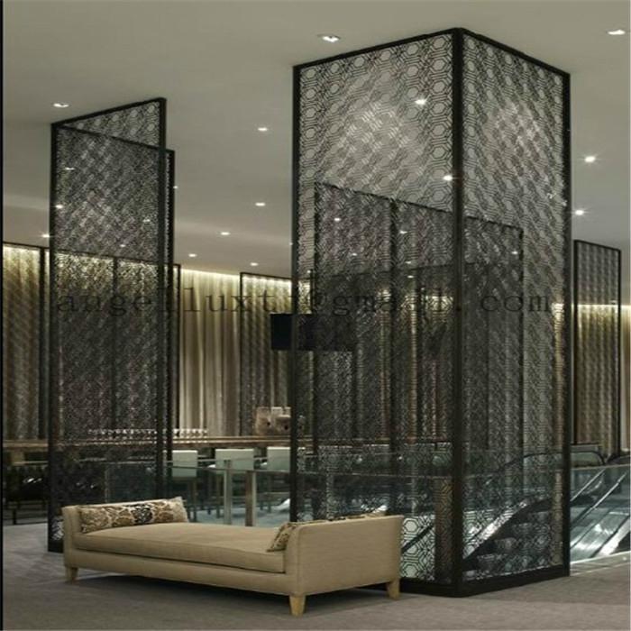 Hotel project stainless steel room divider modern design for Steel divider design