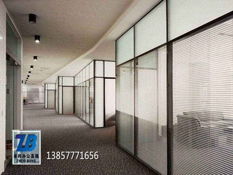 温州内置百叶办公室玻璃隔断墙办公隔墙高隔间 5