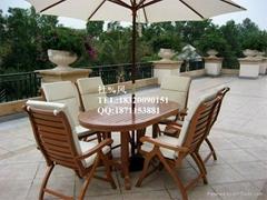 戶外別墅菠蘿格實木桌椅