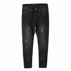 Mens fashion black ripped denim jeans with zipper at ancle